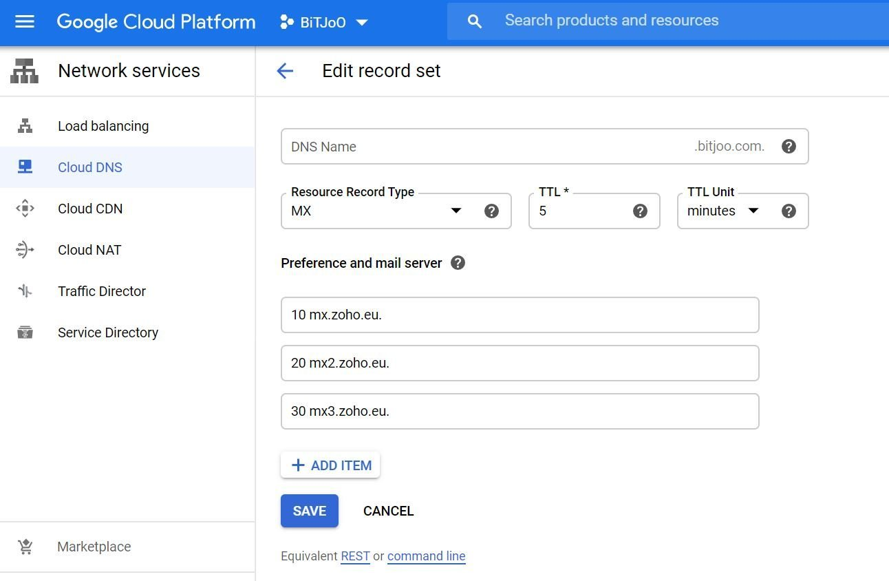 MX Record in Google Cloud DNS